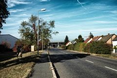 Mannheim Germany bridge meadow nature transport sky concrete countryroad. Autumn stock photography