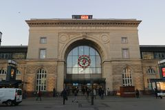 Mannheim, Germany - February 18th 2019, Facade of the main train station