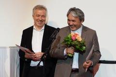 Director Sabit Kurmabekov r at the Internationales Filmfestival Mannheim-Heidelberg 2017. Mannheim/Heidelberg, Deutschland, 2017-11-18. Von der der Ökumenischen Royalty Free Stock Photo