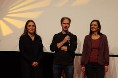 Regisseur Frieder Schlaich (m) at the Internationales Filmfestival Mannheim-Heidelberg 2017. Mannheim/Heidelberg, Deutschland, 2017-11-17. Vor dem Film `Naomis Royalty Free Stock Images