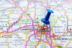 Mannheim on map. With push pin. Monnem or Mannem Royalty Free Stock Photo
