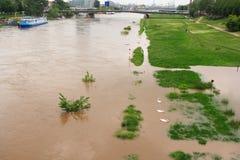 MANNHEIM NIEMCY, MAJ, - 22, 2019: Rzeczna Neckar pow?d?, wysoka woda i obrazy stock
