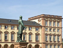 Mannheim: University in a Palace. Monument to Charles Frederick (1st Grand Duke of Baden) in front of Mannheim Palace. The University of Mannheim is mainly Royalty Free Stock Photography