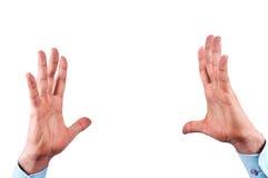 Mannhände getrennt auf Weiß Lizenzfreie Stockfotografie
