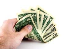 Mannholdinggeld Stockfoto
