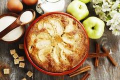 Mannick mit Äpfeln stockbild