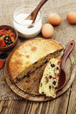 Mannik, semolina cake with dried fruits Stock Photos
