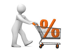 Mannikin Shopping Cart Percent. White cartoon character with shopping cart and per cent Stock Photography