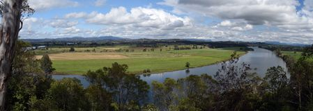 Rural river panorama. Manning Valley, Taree, River Panorama Royalty Free Stock Photography