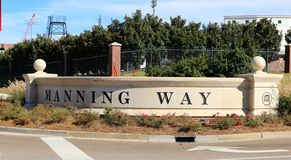 Manning Way Concrete Entry sign Stock Images
