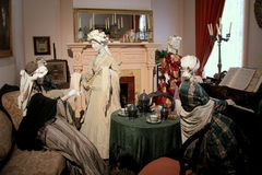 Manniquins dressed in period clothing, enjoying time in the parlor, Canfield Casino,Saratoga,New York,2015 Stock Images