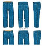 Mannjeanshosen und -kurze Hosen Stockfoto