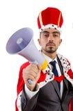 Mannkönig mit der Uhr lokalisiert Lizenzfreies Stockfoto