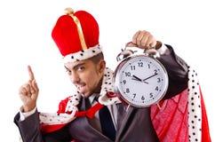 Mannkönig mit der Uhr lokalisiert Lizenzfreie Stockfotografie