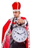 Mannkönig mit der Uhr lokalisiert Stockfoto