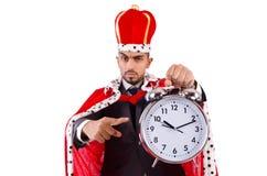 Mannkönig mit der Uhr lokalisiert Lizenzfreies Stockbild