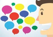 Mannkarikaturgespräch und -Chat packen Hintergrundvektor ein Stockbild