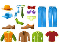Mannkleidung-Ikonenset Stockfotografie