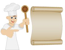 Mannkoch mit Show des Löffels in der Hand auf Blatt des alten Papiers Stockbild