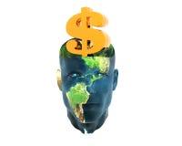 Mannkopf mit Goldenem Dollarzeichen Stockfotografie