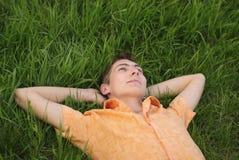 Mannlüge auf dem Gras Stockbilder
