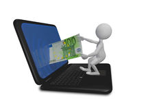 Mannlaptop und -Euro Lizenzfreie Stockfotos