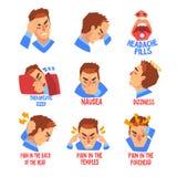 Mannleiden vom Kopfschmerzen- und Übelkeitssatz, Krankheit des Kopfes, Migräne, kranker unglücklicher Manncharaktervektor lizenzfreie abbildung
