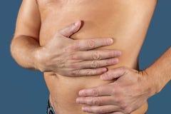 Mannleiden von den Schmerz in seiner Seite Hintergrund für eine Einladungskarte oder einen Glückwunsch Magen, Leberschmerz, Pankr lizenzfreies stockfoto