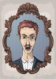 Mannpersonengefühl-Gesichtsporträt Konkurrieren Retro- Weinlesefront des Vektors Stockbild