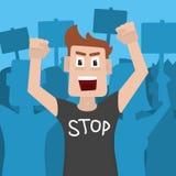 Mannprotestierender und -aktivist, die ein T-Shirt tragen, das HALT sagt Auch im corel abgehobenen Betrag vektor abbildung