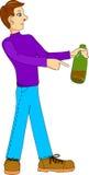 Mannpunkte zur Flasche Lizenzfreie Stockbilder
