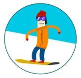 Mannreiten auf einem Snowboard Stockfoto