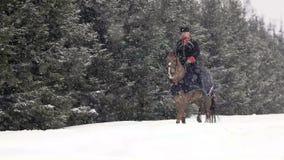 Mannreiten ein großes braunes Pferd in der schönen Landschaft des verschneiten Winters Männlicher Reiter, der mit großem elegante