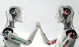 Mannroboter gegen Frauenroboter Stockfotografie