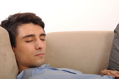 Mannschlafen Stockfoto