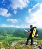 Manntourist Stockbild