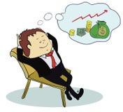 Manntraum über Geld Konzeptkarikatur Lizenzfreies Stockfoto