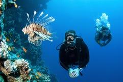Mannunterwasseratemgerättaucher mit Fischen und Koralle Lizenzfreie Stockbilder