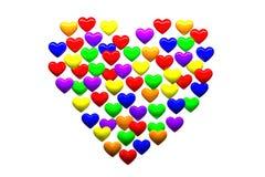Manny färgade små hjärtor bildar en stor hjärta Arkivfoto