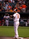 Manny Machado. Baltimore Orioles vs Texas Rangers game on 7-11-2013.  Third baseman, Manny Machado, at third base during warm-ups Royalty Free Stock Photo