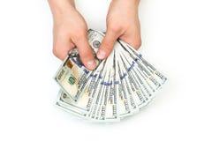 Mannzählung das neue US-Dollars lokalisiert auf Weiß stockbilder