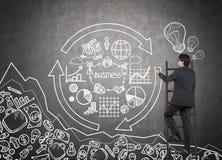 Mannzeichnungs-Geschäftsdiagramm Lizenzfreie Stockfotos