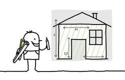 Mannzeichnungs-Hausplan Stockfotos