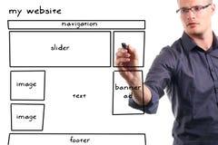 Mannzeichnungs-Web site wireframe Lizenzfreies Stockbild