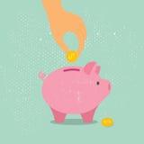 Mano abajo de una moneda en la hucha Ilustración del vector Foto de archivo