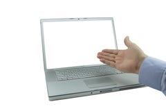 Mano abierta de la computadora portátil Imagen de archivo