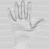 Mano abstracta del arte de Op. Sys. del vector del moaré Ornamento blanco y negro gráfico monocromático libre illustration