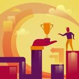 Mano abstracta que sostiene la taza de oro al concepto acertado del ganador del hombre de negocios ilustración del vector