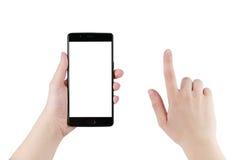 Mano adolescente femenina que sostiene smartphone con la pantalla en blanco aislado Fotografía de archivo