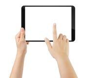 Mano adolescente femenina usando la PC de la tableta con la pantalla blanca Fotos de archivo
